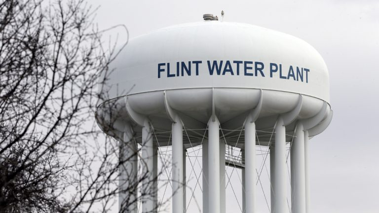 The water plant tower is seen in Flint