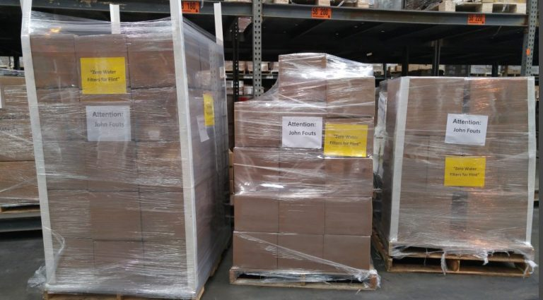 Shipmets of ZeroWater Filters head out to Flint, Mich. as a part of the