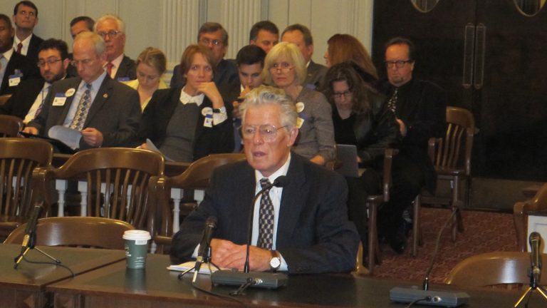 Former New Jersey Gov. Jim Florio testifies Wednesday at legislative hearing on water system upgrades. (photo by Phil Gregory)