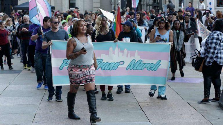 Philadelphia trans activist Naiymah Sanchez leads the 5th Annual Philly Trans