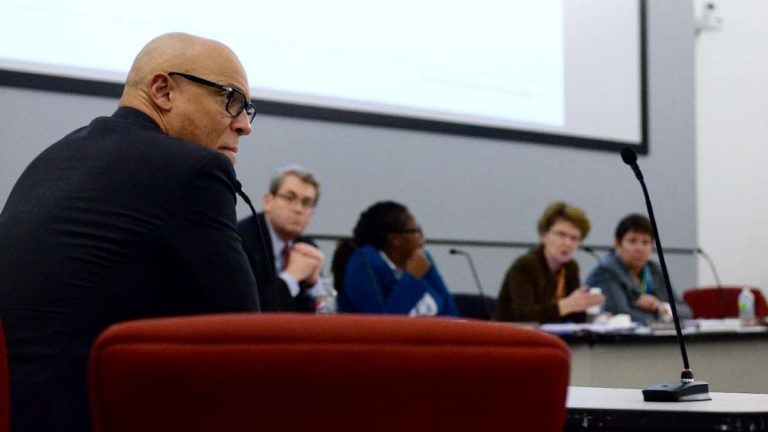 Supt. William Hite is shown at a Jan. 21 meeting where his recommendation to not convert three neighborhood schools to charters was overruled by the SRC. (Bas Slabbers for NewsWorks)