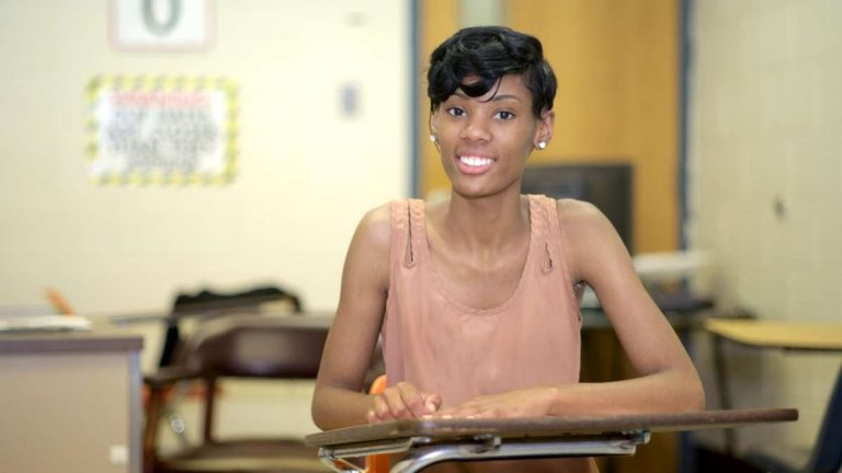 After attending Germantown High School for the first three years of high school, Pametra Gee completed her senior year at MLK High School in West Oak Lane after GHS was closed last year. (Bas Slabbers/for NewsWorks)