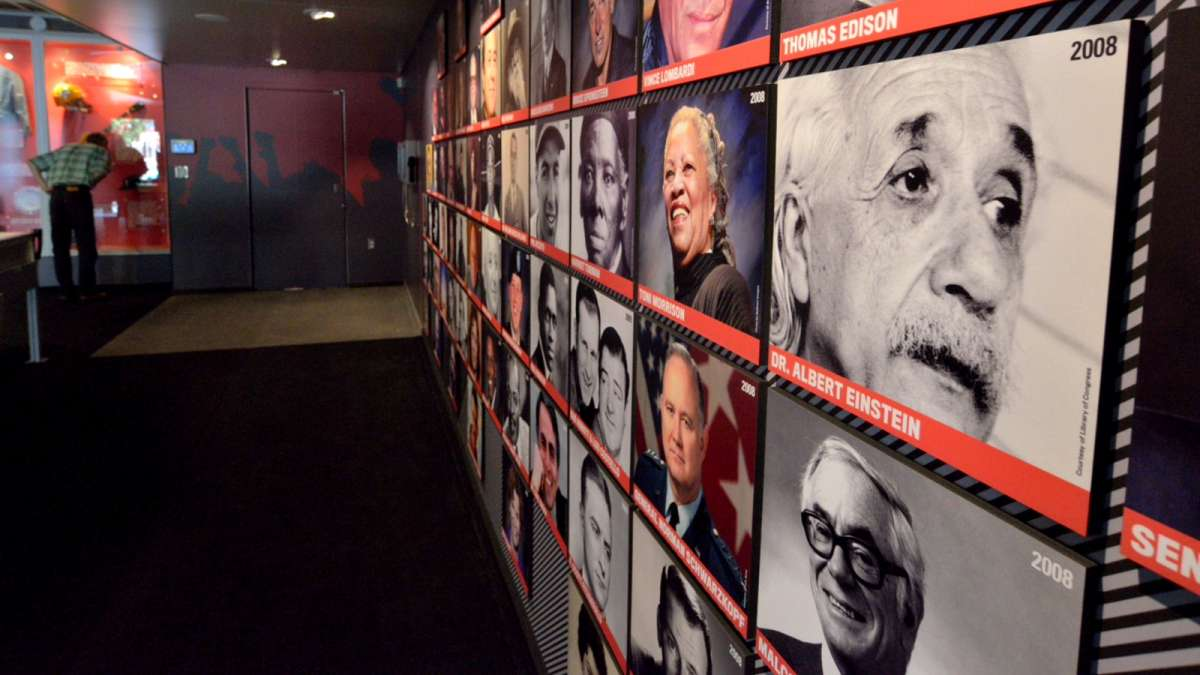 Faces of people who made major contributions to New Jersey are included in a mobile Hall of Fame parked in Trenton. (Bas Slabbers/for NewsWorks)