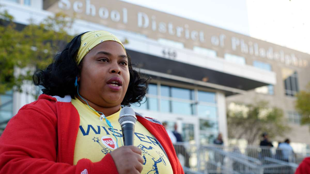 Kenya Nation, parent at John Wister Elementary, speaks outside SDP, ahead of the Thursday SRC meeting.