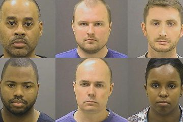 These photos provided by the Baltimore Police Department show the officers charged with felonies in the police-custody death of Freddie Gray. Clockwise from top left: Caesar R. Goodson Jr., Garrett E. Miller, Edward M. Nero, Alicia D. White, Brian W. Rice, William G. Porter. (AP Photo)