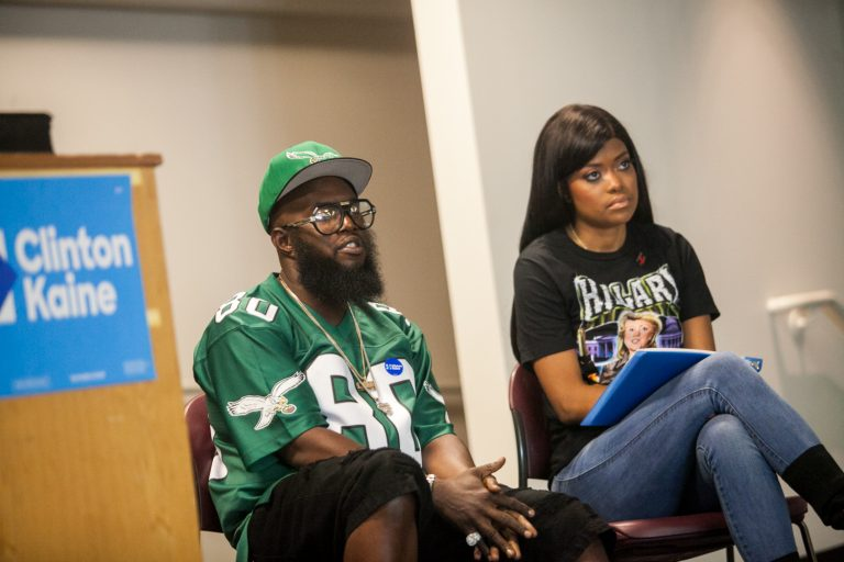 Philadelphia rapper Freeway and social media personality Karen Civil campaigneed for Democratic presidential candidate Hillary Clinton Friday at Temple University. (Brad Larrison for NewsWorks)