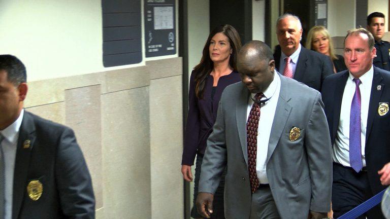 Pennsylvania Attorney General Kathleen Kane walks towards Judge Cathleen Kelly Rebar's court Tuesday. (Mark Monahan/WBRE)