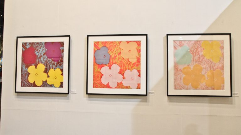 Bank of America donated several Andy Warhol prints to the 2014 Philadelphia Flower Show. (Kimberly Paynter/WHYY)
