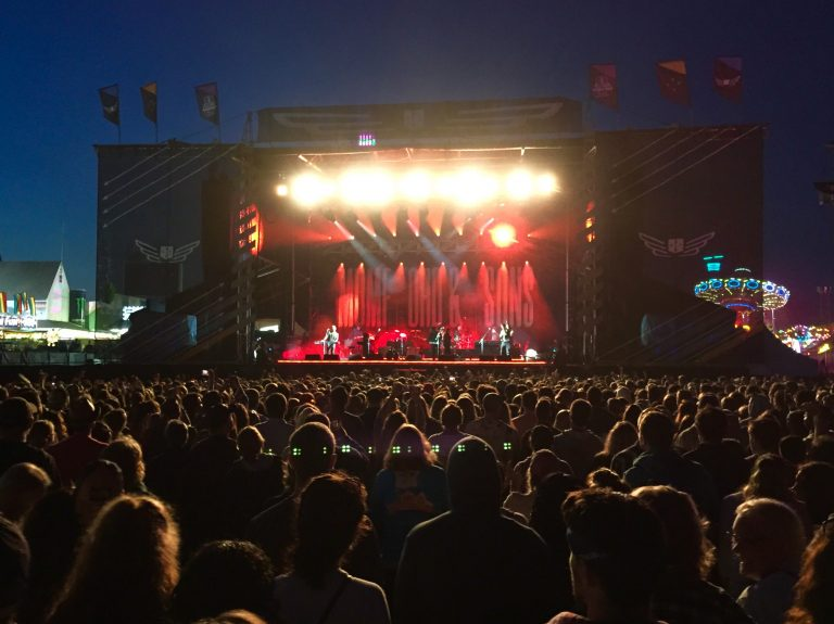 Mumford & Sons performing at the Gentlemen of the Road Stopover festival in Seaside Heights on June 6