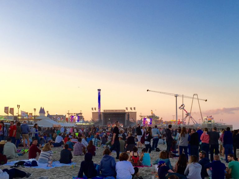Sunset at the June 2015 Gentlemen of the Road Stopover music festival in Seaside Heights. (Photo: Justin Auciello/for NewsWorks)