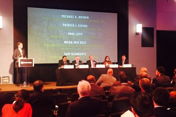 Members of Philadelphia's business community gathered Wednesday night for a forum on attracting -- and keeping -- businesses in the city. The meeting was held at WHYY. (Bobby Allyn/WHYY)