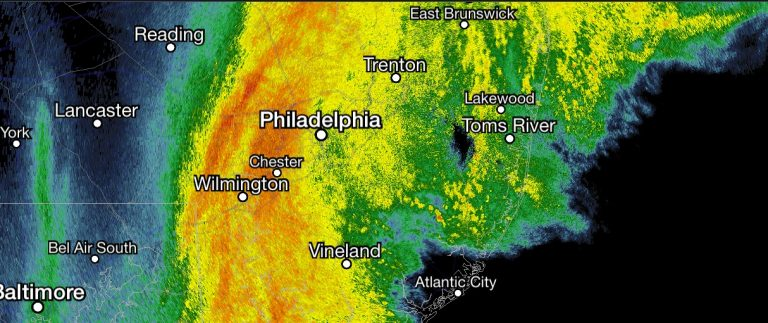 Radar imagery at 12:40 p.m. Sunday, showing heavy rain approaching the Jersey Shore.