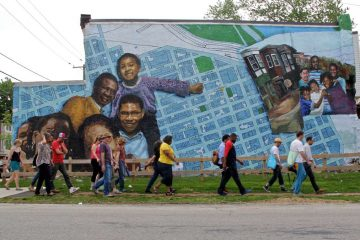 A mural is shown in Philadelphia's Mantua neighborhood at Fairmount Avenue and 34th Street. (Emma Lee/WHYY)