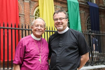 Bishop Gene Robinson and Christ Church rector Timothy Safford are shown in Philadelphia on the 4th of July weekend, 2015. (Kimberly Paynter/WHYY)