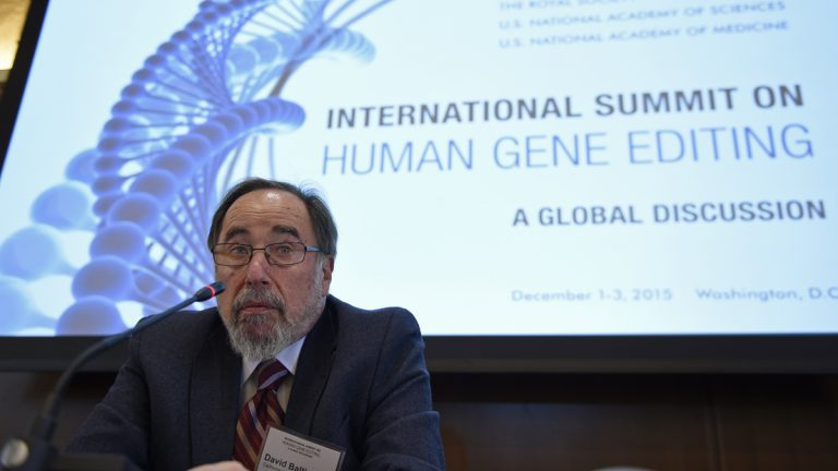 Nobel laureate David Baltimore of CalTech speaks to reporters at the National Academy of Sciences international summit on the safety and ethics of human gene editing
