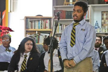 Students from KIPP DuBois Collegiate Academy were among those who asked questions of six Democratic candidates for mayor at Thursday's forum in Parkside. (Kimberly Paynter/WHYY)