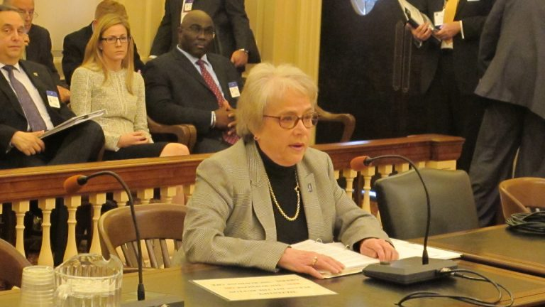College of New Jersey President Barbara Gitenstein is shown testifying at N.J. Assembly Higher Education Committee hearing. (Phil Gregory for NewsWorks)