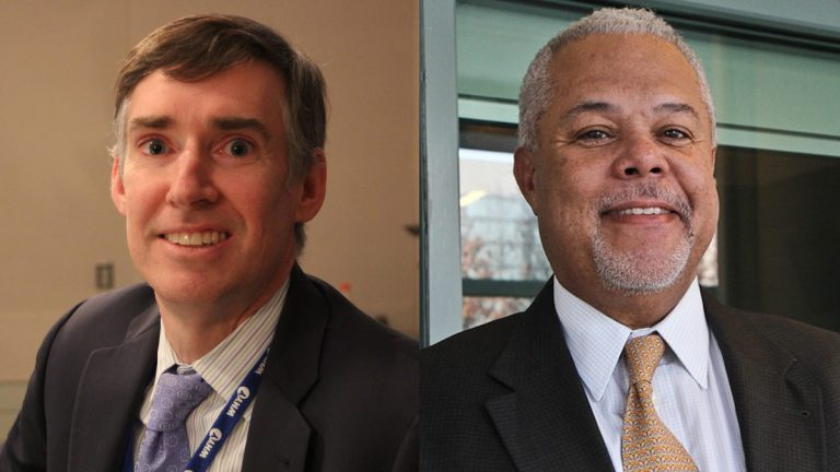 Mark Gleason (left), executive director of the Philadelphia School Partnership and mayoral candidate Anthony Williams. (NewsWorks file photos)
