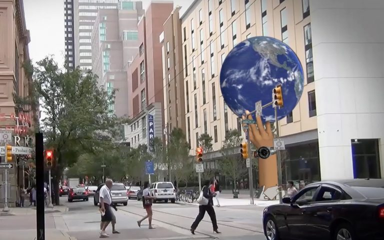 Proposed UED globe at 12th and Arch streets in Philadelphia.  (Image courtesy of Catalyst Outdoor)