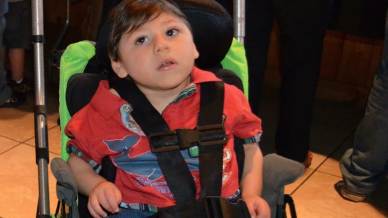 Four-year-old Nicholas Lovecchio is seated in the wheelchair that police say was stolen from outside his Brookhaven home. (Image via gofundme.com/wheelchair4nicolas)