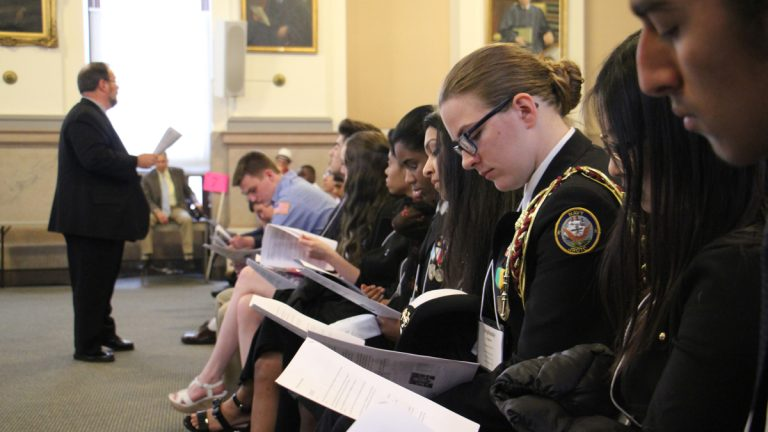 High school juniors from the Philadelphia area chosen for their leadership qualities participate in Good Citizen Day at City Hall