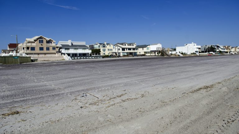 Seawalls in front of homes on the beach in Margate. (Anthony Smedile/for WHYY)