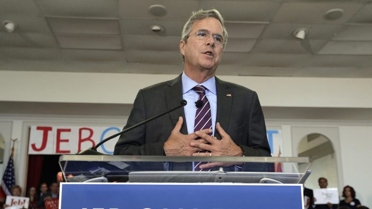 Republican presidential candidate Jeb Bush gestures as he speaks to supporters during a rally Monday, in Tampa, Florida. (AP Photo/Chris O'Meara)