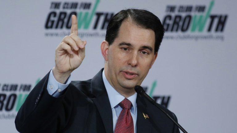 Wisconsin Gov. Scott Walker speaks at the winter meeting of the free market Club for Growth winter economic conference at the Breakers Hotel Saturday, Feb. 28, 2015, in Palm Beach, Fla.   (AP Photo/Joe Skipper)