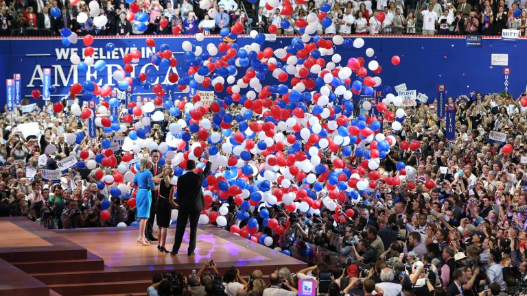 Balloons drop at the 2012 Republican Convention in Tampa, Fla., as presidential candidate Mitt Romney and vice presidential candidate Paul Ryan accept the nomination of their party. (AP Photo/Jae C. Hong, File)