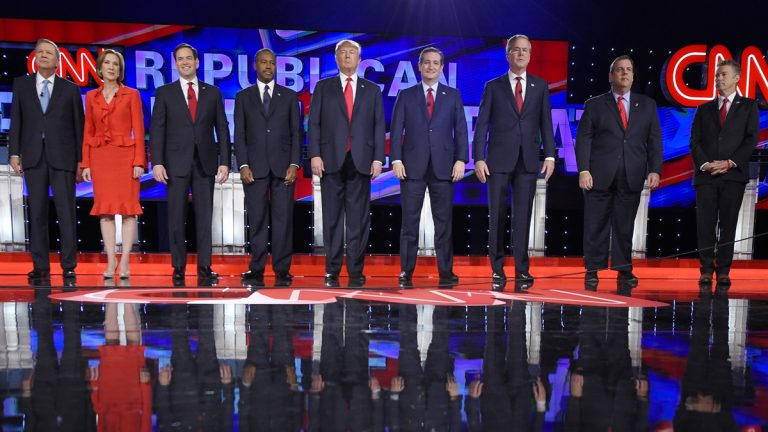 From left: Republican presidential candidates John Kasich, Carly Fiorina, Marco Rubio, Ben Carson, Donald Trump, Ted Cruz, Jeb Bush, Chris Christie, and Rand Paul take the stage during the CNN Republican presidential debate on Tuesday in Las Vegas. (AP Photo/Mark J. Terrill)