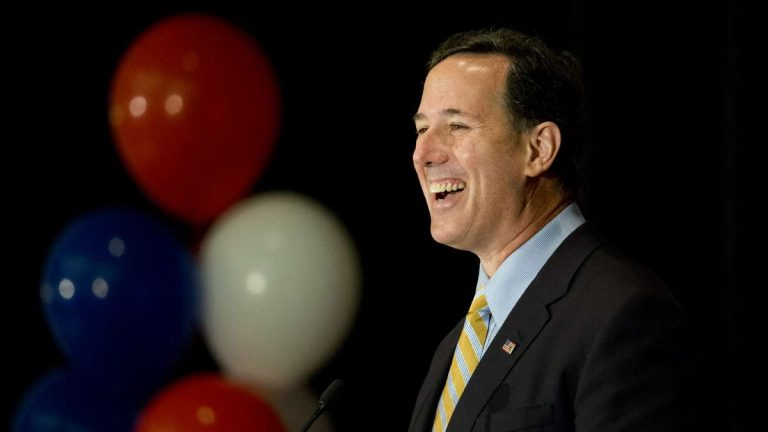 Republican presidential candidate and former U.S. Sen. Rick Santorum is shown speaking at the Northeast Republican Leadership Conference in Philadelphia on June 19. (AP Photo/Matt Rourke)