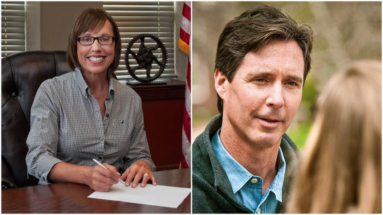 Sher Valenzuela & Ken Simpler are vying for the GOP nomination in Delaware's Treasurer race (Valenzuela and Simpler campaign photos)