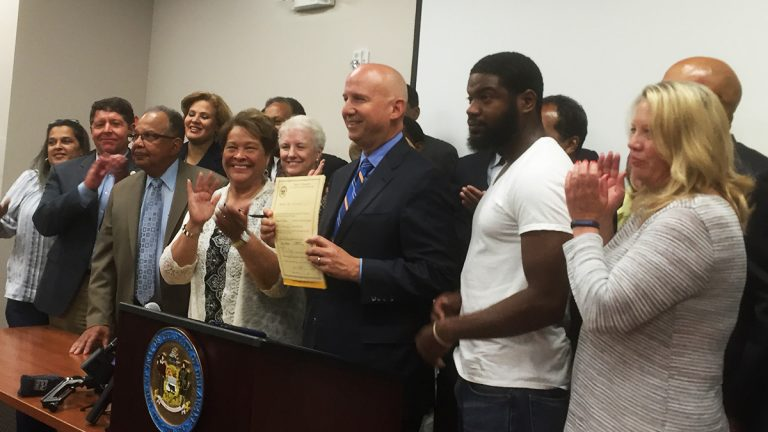 Gov. Jack Markell signed legislation Wednesday allowing individuals with felony convictions to vote prior to paying fines. (Zoe Read/WHYY)