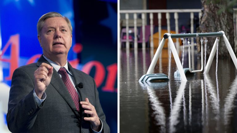 Left: Republican presidential candidate, Sen. Lindsey Graham, R-S.C. ( AP Photo/Jose Luis Magana, file) Right: A swing set is nearly covered in floodwater on Roundtree Road along the Lynches River in Effingham, S.C., Tuesday, Oct. 6, 2015. (AP Photo/Gerry Broome)