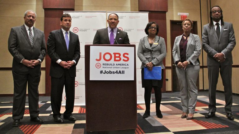 Marc Morial, president of the National Urban League, announces a five-year, $1 million commitment to building jobs in Philadelphia. (Emma Lee/WHYY)