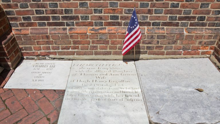 The grave of Elizabeth Graeme Fergusson is located at Christ Church in Old City. (Kimberly Paynter/WHYY)