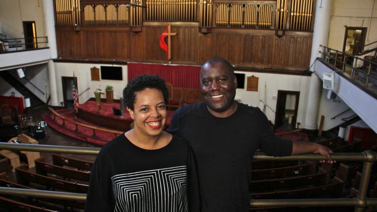 Menti and Keith Obadike created a sound installation for Tindley Temple that will play from the rooftop each day at the rising of the sun. (Emma Lee/WHYY)