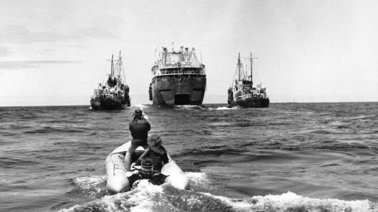 Green Peace activists approach Russian tankers. (Photo from  the film A Fierce Green Fire)
