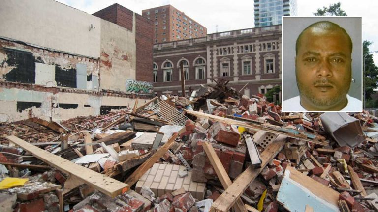 Griffin T. Campbell, inset, is the contractor hired to demolish the building that collapsed at 22nd and Market streets in Philadelphia. (NewsWorks photo, file)