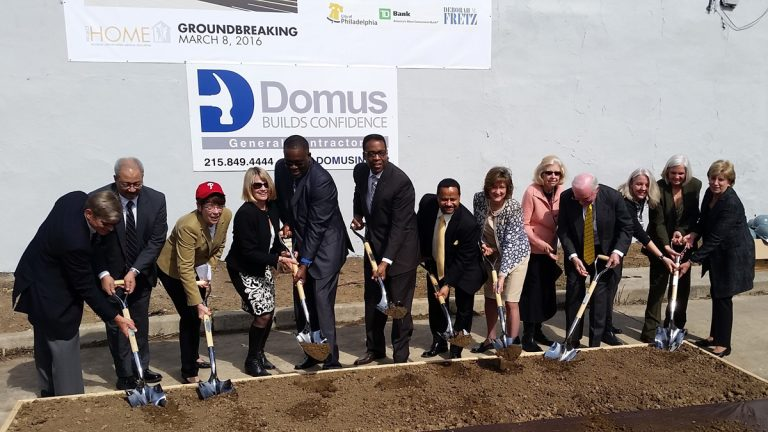 Groundbreaking ceremonies Tuesday mark the start of construction  on an affordable housing development on North Broad Street in Philadelphia. (Tom MacDonald/WHYY)