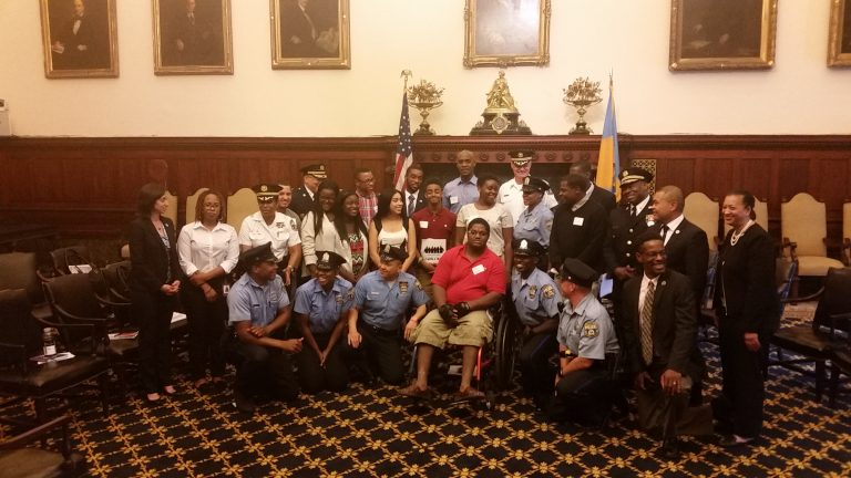 At a City Hall meeting, young people of the city met with Philadelphia police to talk about improving relations between cops and the community. (Tom MacDonald/WHYY)