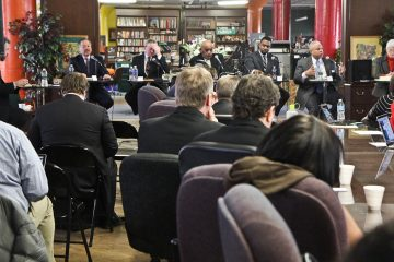Way back in February, the six Democratic mayoral candidates attended the first forum of the campaign, in Parkside. (Kimberly Paynter/WHYY)
