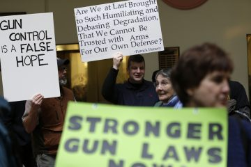 Gun rights and gun control advocates demonstrate in the Pennsylvania Capital building in this January 2013 photo. (Matt Rourke/AP Photo)