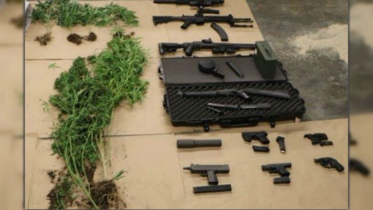 These guns and drugs were seized at a home in the Buena Vista neighborhood near New Castle. (photo courtesy NCCo Police)