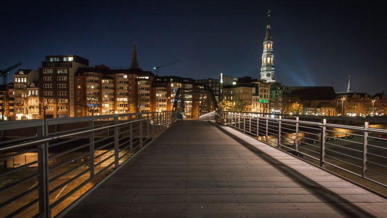 The bridge to HafenCity, a development on Hamburg's Elbe waterfront. (John Kraus/Flickr)
