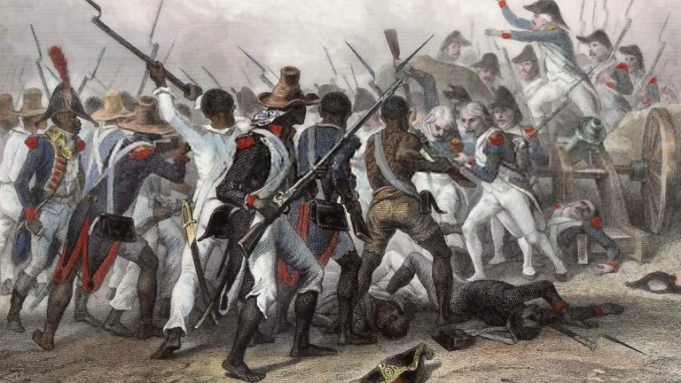 Images like these, depicting the Battle of Vertières, a major battle of the Second War of Haitian Independence, fueled fears of slave rebellion in the United States. (Wikimedia Commons)
