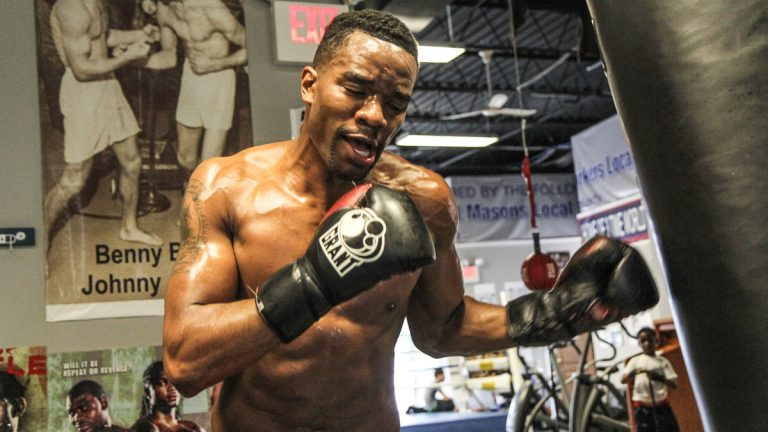 "Jesse ""Hard Work"" Hart trains for the most important fight of his life. (Kimberly Paynter/WHYY)"