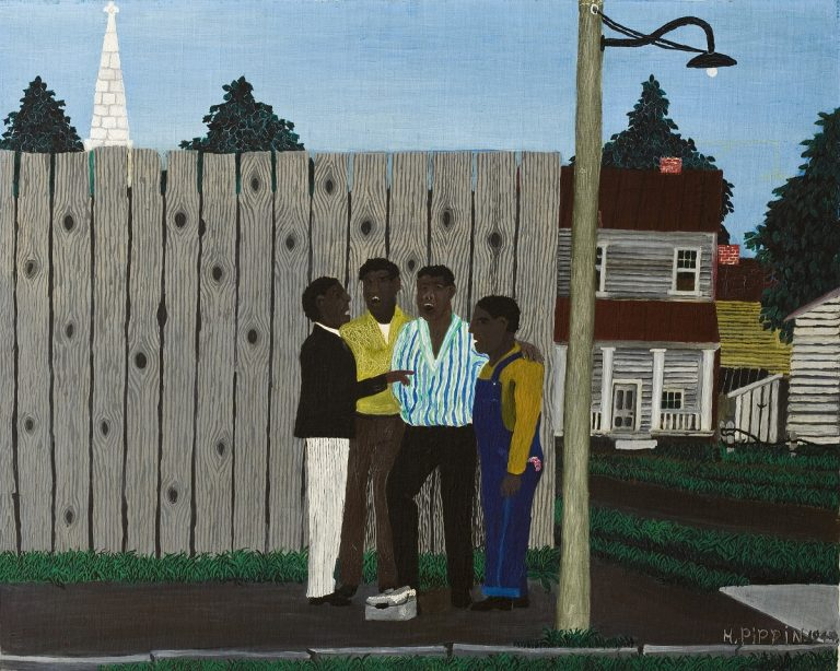 Harmonizing (1944) portrays an African American a cappella quartet singing on a street corner in West Chester, PA.(Photo courtesy of The Brandywine River Museum of Art)