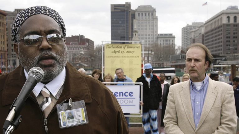 Harold Wilson, left, is shown at a 2007 rally against the death penalty on Independence Mall in Philadelphia. Wilson was acquitted of a triple murder after a 2005 retrial. Ray Krone, right, cleared of murder through DNA evidence after spending 10 years in prison, looks on. (AP Photo/Matt Rourke, file)