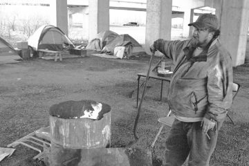 Frank Fairweather camped for three years beneath the Interstate 83 bridge in Harrisburg with at least half a dozen others at any given time. City officials recently closed the encampment. (Image courtesy of Eric Weiss)
